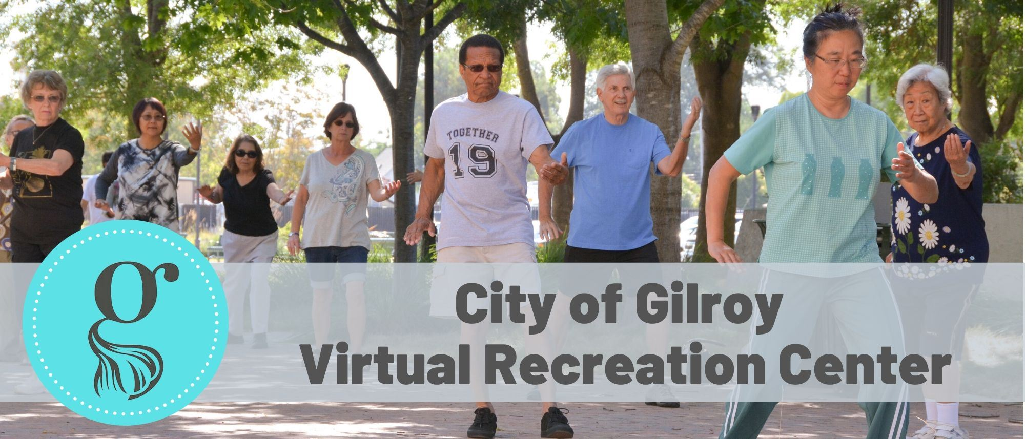 Virtual Recreation Center Logo with picture of adults doing Tai Chi