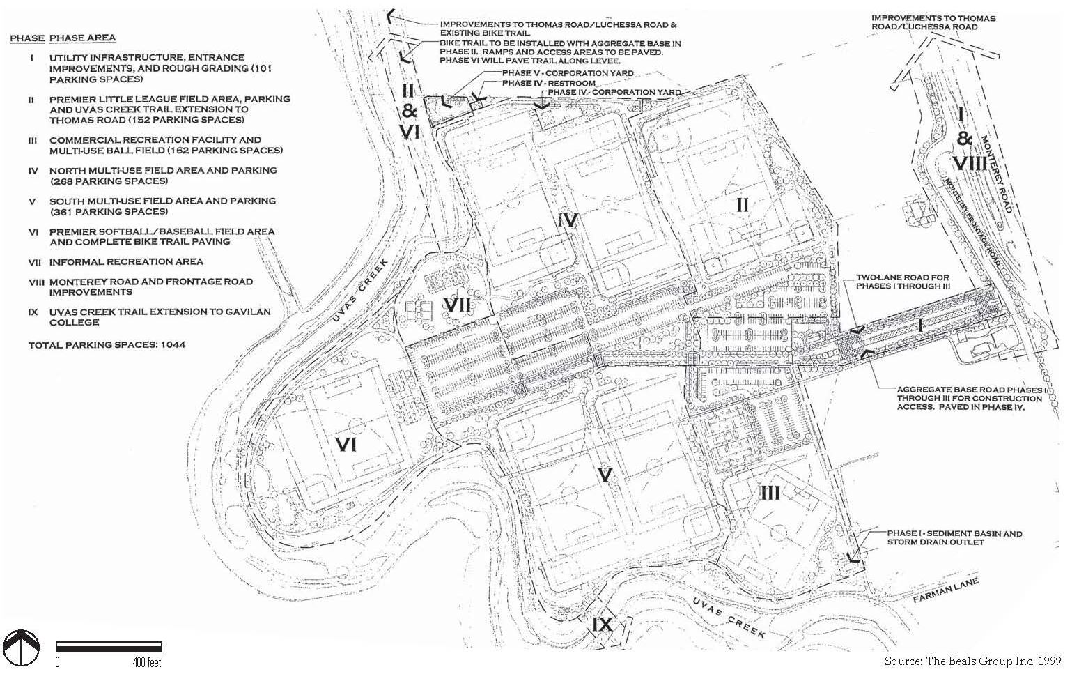 Gilroy Sports Park Existing Master Plan Map